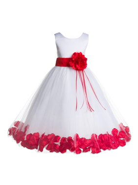 cdb6d052c Product Image Ekidsbridal Formal Satin Floral Petals Rose Tulle White Flower  Girl Dress Bridesmaid Wedding Pageant Toddler Easter