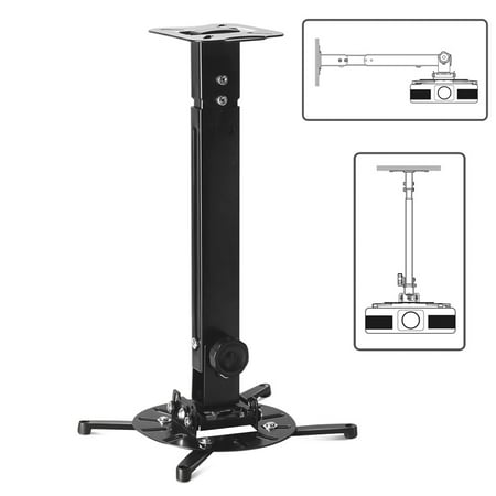 Universal Projector Mount Drop Ceiling / Wall - LCD/DLP Video Projection Mount Bracket Holder Plate with Telescoping Arm Extension Pole, Tilt & Swivel Adjustable Bracket (Black) Drop Ceiling Mounting Plate