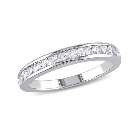 Created White Sapphire 3/4 Carat (ctw) Channel Set Wedding Anniversary Band In Sterling Silver - image 4 of 4