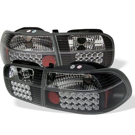 Sonar LED Tail Lights (Black) - 92- 95 Honda Civic 3dr.