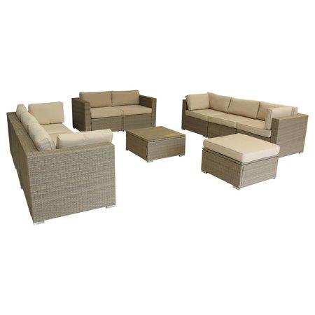 10 Piece Multy-Tan Outdoor Lounge Set with Cushions, Polyurethane Rattan Garden Furniture Set in Beige ()
