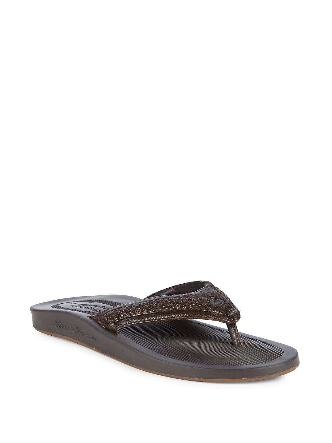 Shallow Leather Thong Sandals