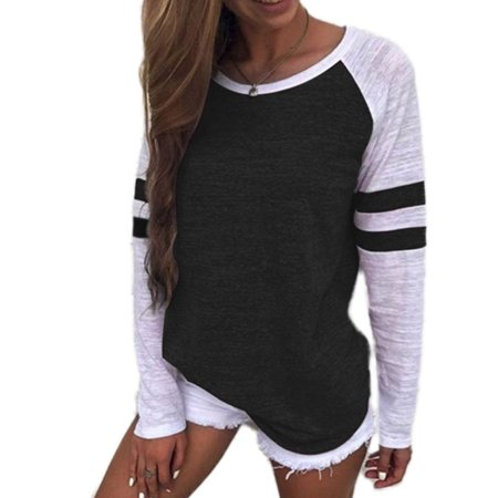 - Womens Plus Size Summer Casual Long Sleeve Tops Loose Ladies Blouse T-shirt Fashion