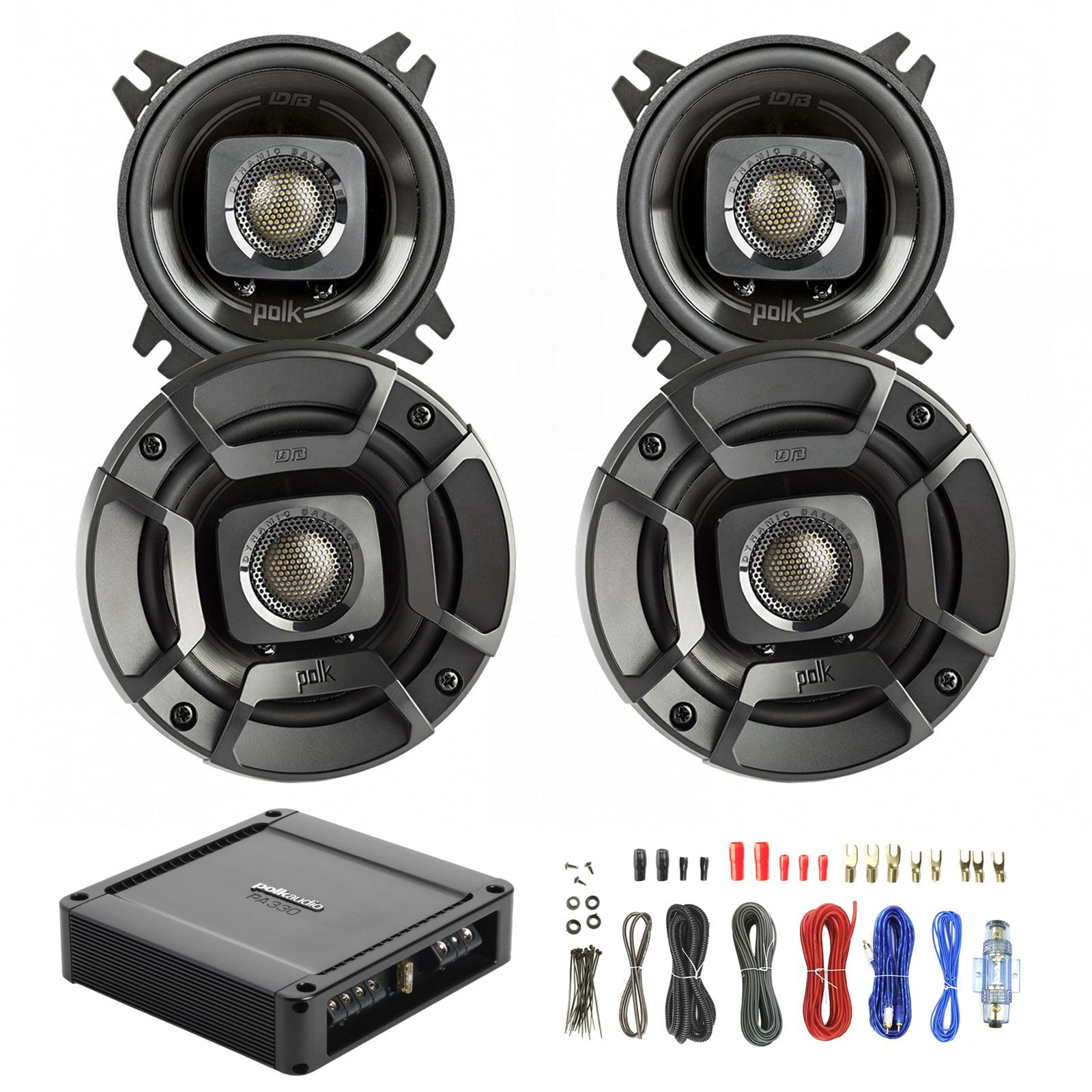 4X Polk Audio DB402 4-inch 135W Coaxial Speakers Black