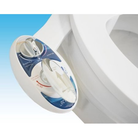 Luxe Bidet Neo 320: Fresh Water Non-Electric Mechanical Bidet Toilet Seat Attachment (Blue and White)