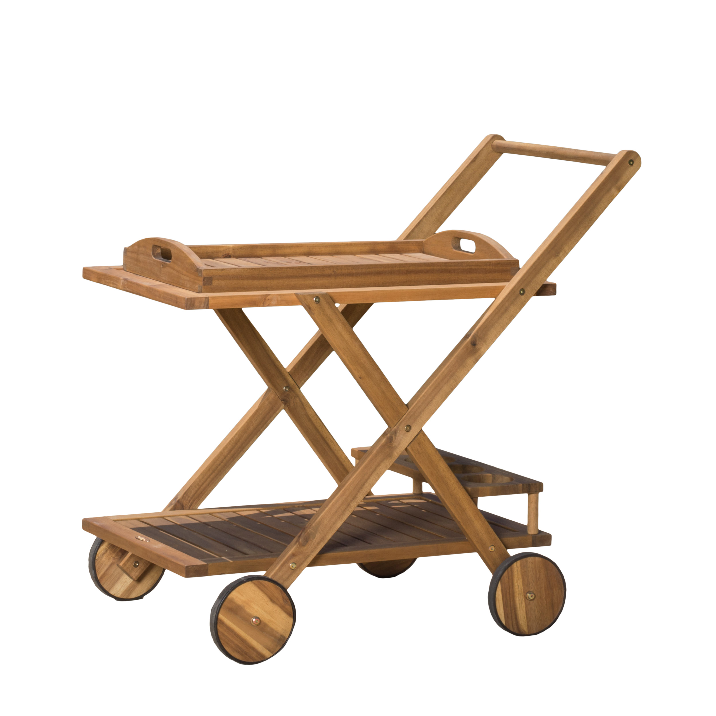 Rivier Natural Wood Stained Serving Cart by Noble House