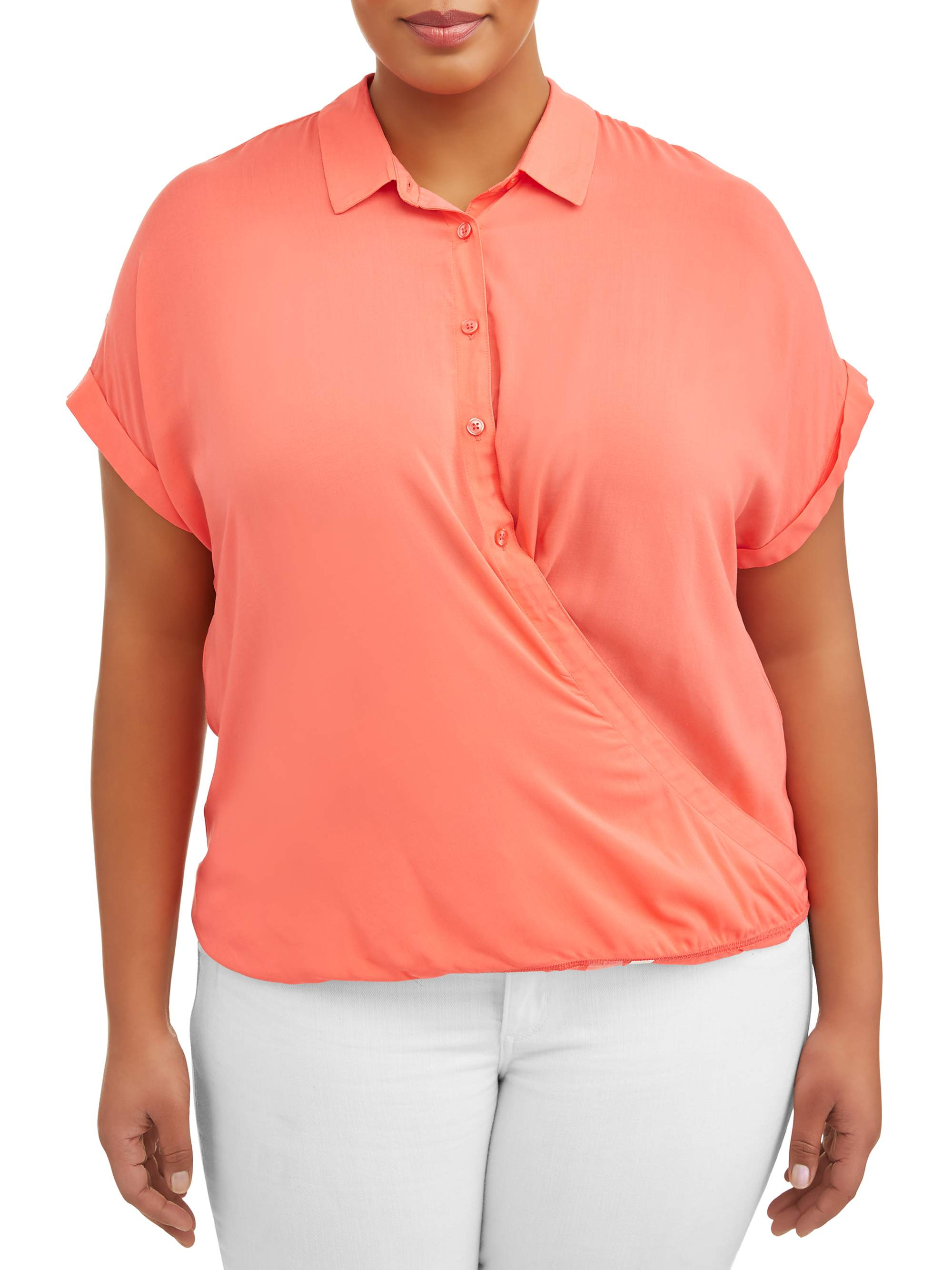 Women's Plus Twisted Hem Shirt w/ Eyelet Lace Back Top