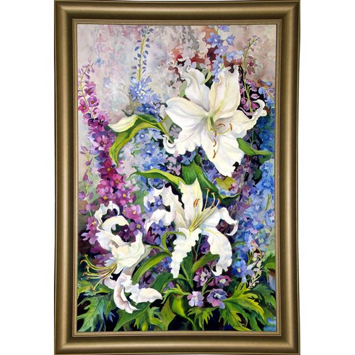 Charlton Home 'White Oriental Lilies & Pink And Purple Delphinium' Print