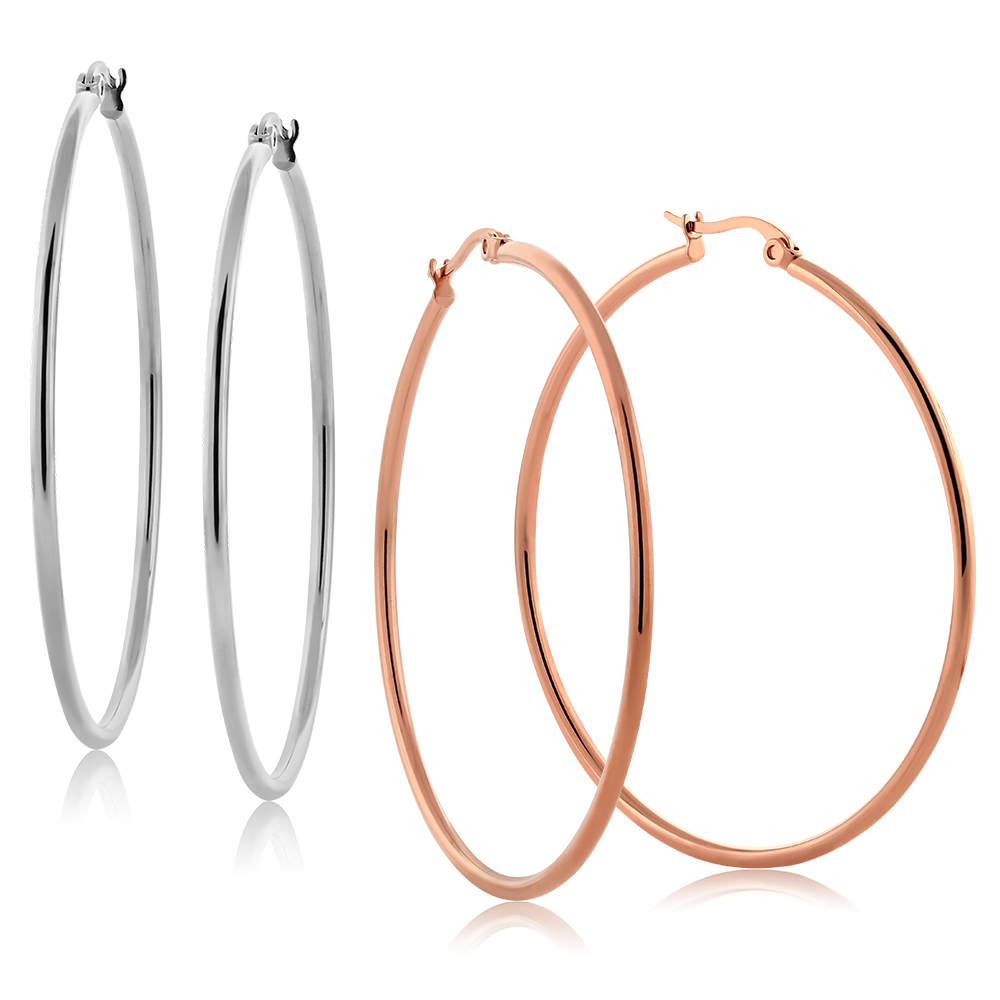 2 Inch Stainless Steel Silver & Rose Gold Color Hoop Earrings Set of 2