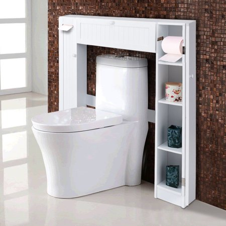 Costway Wooden Over The Toilet Storage Cabinet Drop Door Spacesaver Bathroom White