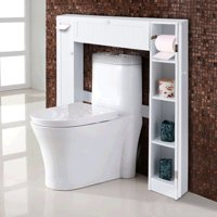 Product Image Costway Wooden Over The Toilet Storage Cabinet Drop Door Esaver Bathroom White