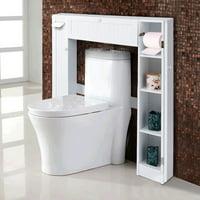 Product Image Costway Wooden Over The Toilet Storage Cabinet Drop Door Esaver Bathroom White