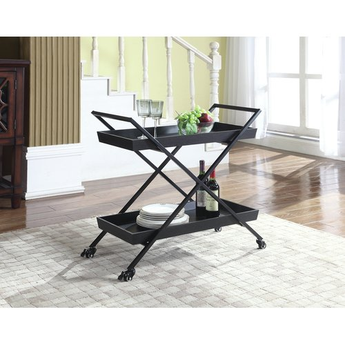 Coaster Serving Cart in Black, Black finish by COA INC