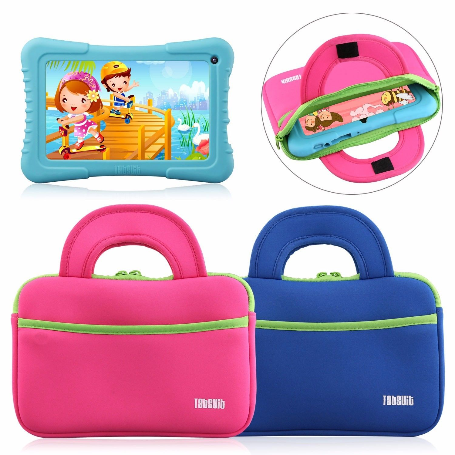 Tablet Sleeve Case Portfolio Handle Carry Bag for 7'' Kids Tab Universal(Pink)