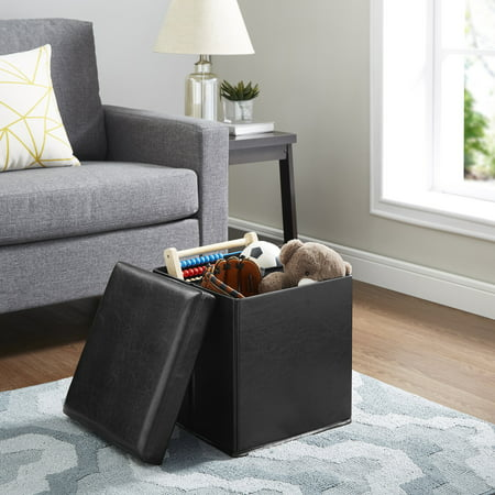 Mainstays Ultra Collapsible Storage Ottoman, Black Faux Leather