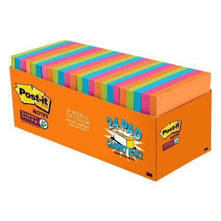Post-it Super Sticky Notes Cabinet Pack, 3in. x 3in., Rio de Janeiro Collection, 24 (Best Notes For Ipad)