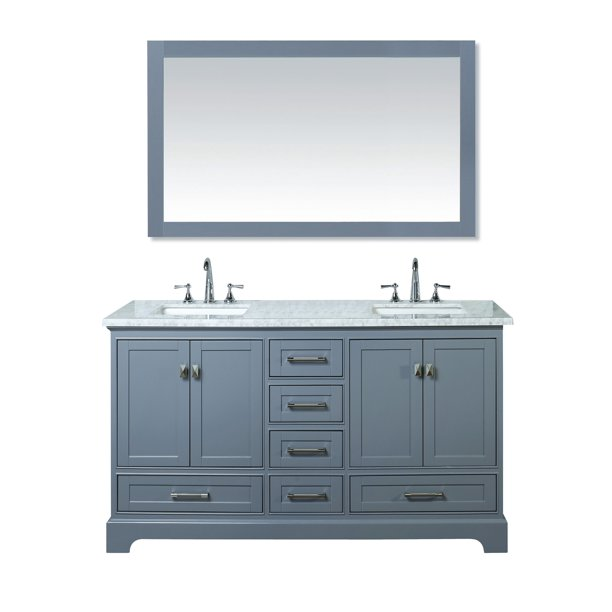 Stufurhome Newport Grey 60 Inch Double Sink Bathroom Vanity With Mirror Walmart Com Walmart Com