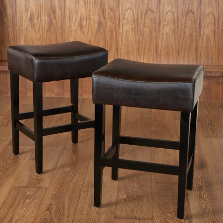 Lopez Backless Brown Leather Counter Stools 2 Pack