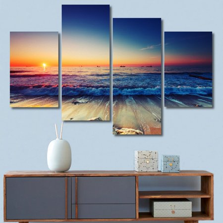 4Pcs Modern Beach Sunset Seascape Canvas Wall Art Printed Painting Pictures Living Room Bedroom Home Decor