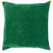 "20"" Green and Yellow Square Throw Pillow with Pom Pom Edges"