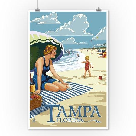 Tampa, Florida - Woman on the Beach - Lantern Press Poster (9x12 Art Print, Wall Decor Travel Poster) Woman Art Poster