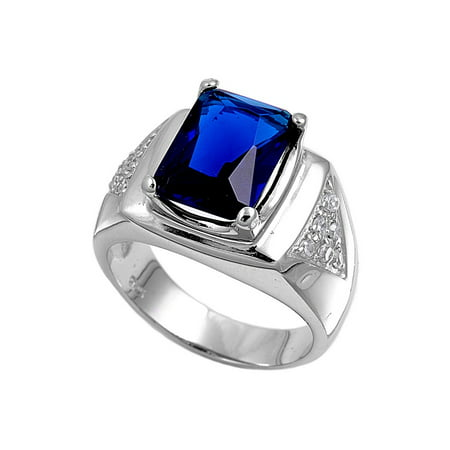 Rectangular Center Simulated Sapphire Cubic Zirconia Men's Ring Sterling Silver -