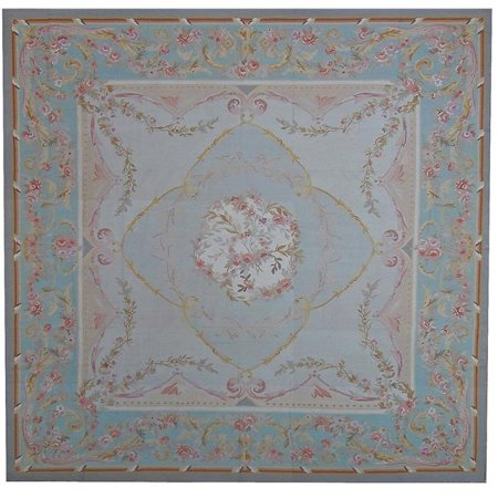 Pasargad Carpets 114-B 7X7 6 ft. 11 in. x 6 ft. 11 in. Aubusson Hand-Woven New Zealand Wool Area Rug, Black - image 1 of 1