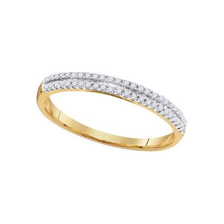 Double Blend - 10kt Yellow Gold Womens Round Diamond Slender Double Row Band 1/6 Cttw