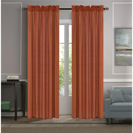 Decorative Brick Panels (MR2 BRICK 2-PC SET MYRA Rod Pocket Faux Silk Window Curtain Treatment, Set of Two (2) Solid Semi Sheer Panels 55
