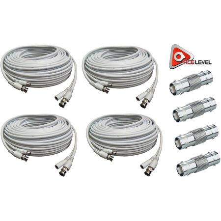 Acelevel 4pk RG59 Premium UL Listed 100FT Cable for SDI Mace Systems, White
