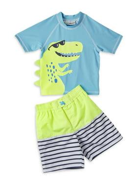 Wippette Baby Toddler Boy Dinosaur Rashguard & Swim Trunks, 2pc Set