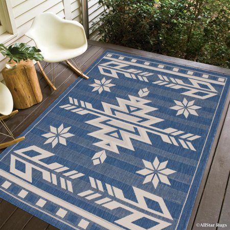 Navy allstar indoor outdoor all weather rug with arrow for All weather patio rugs