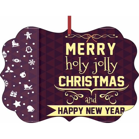 Merry Holly Jolly Christmas and Happy New Year Christmas Aluminum SemiGloss Quality Aluminum Benelux Shaped Hanging Christmas Holiday Tree Ornament Made in the