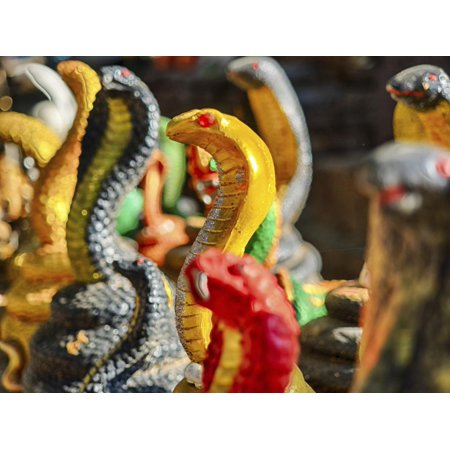 Thai Silver Snake - Thailand, Chiang Mai, Cobra Snake replica display Print Wall Art By Terry Eggers