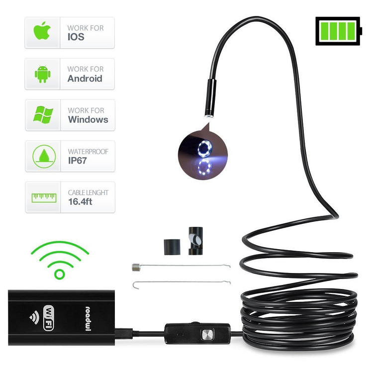Camera for Iphone and android, Wireless Endoscope 8MM HD WiFi Borescope Mini Inspection Camera 2.0 Megapixels IP68 Waterproof Semi-rigid Detector with 6 LED