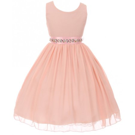 Big Girls' Sleeveless Chiffon Rhinestone Belt Holiday Party Flower Girl Dress Pink 8 G35G69