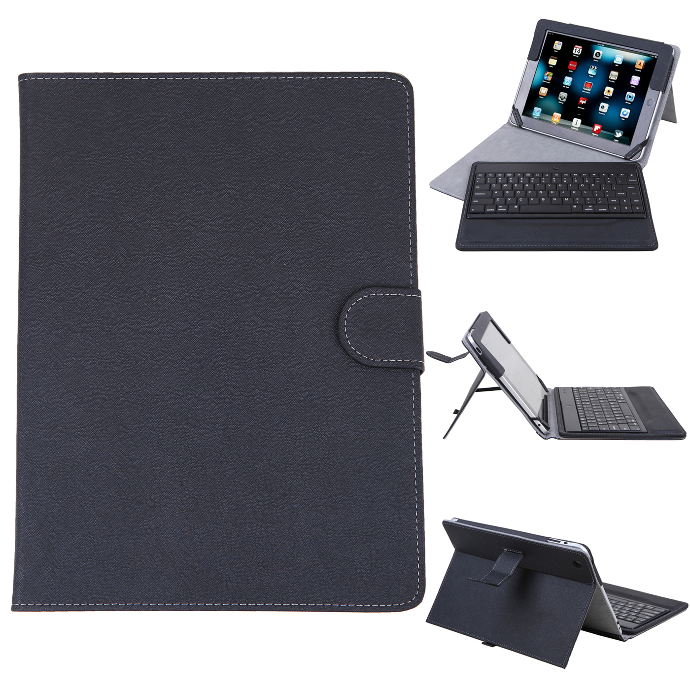 HDE iPad 2 iPad 3 iPad 4 Bluetooth Keyboard Case Leather Folio Magnetic Cover for 2nd 3rd 4th Generation Apple iPad (Black)