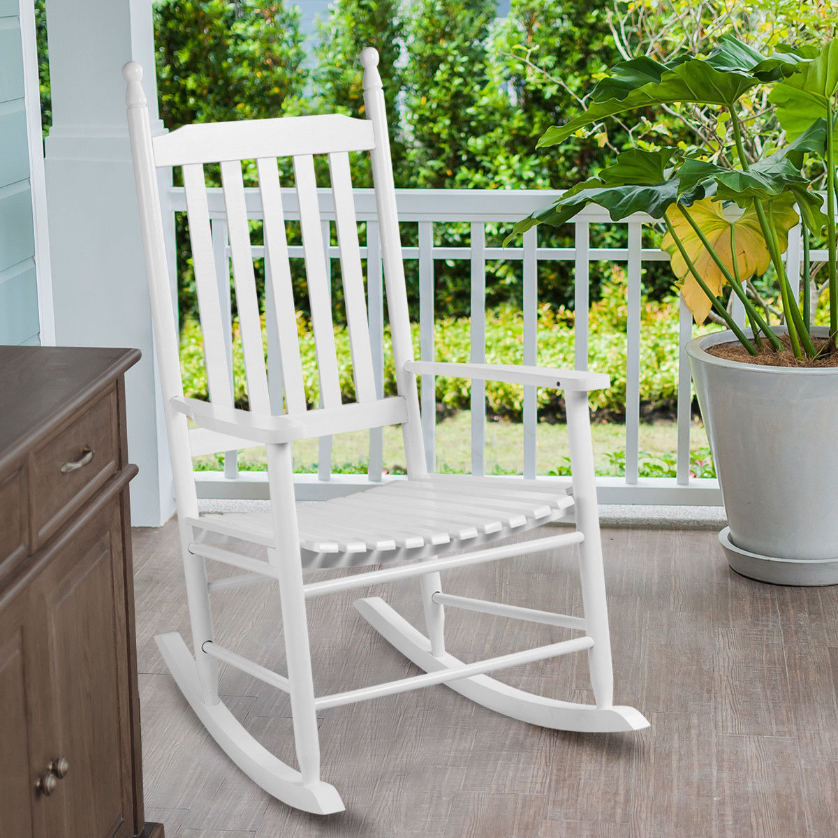 Gymax Wood Rocking Chair Porch Rocker Patio Deck Garden Backyard Furniture White