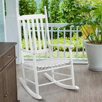 Gymax Wood Rocking Chair Porch Rocker Patio Deck Garden Backyard Furniture White