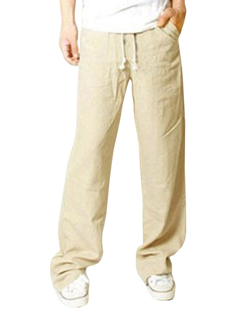 Men's Casual Elastic Waist Wide Leg Pants Long Solid Pants