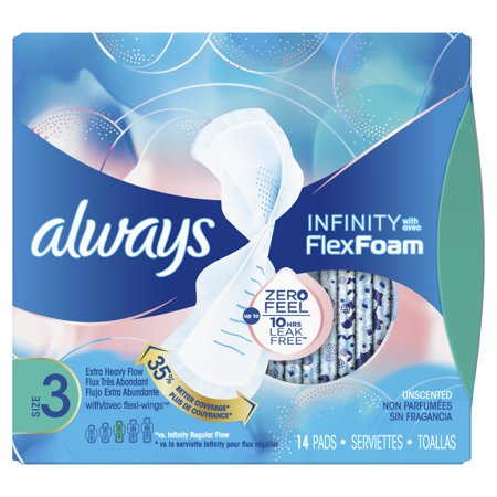 ALWAYS Infinity, Size 3, Extra Heavy Sanitary Pads with Wings, Unscented, 14