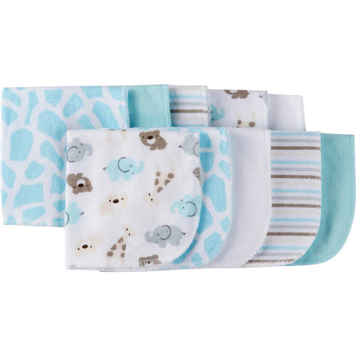 Gerber Baby Boy or Girl Unisex Terry Printed Washcloths, 10-Pack