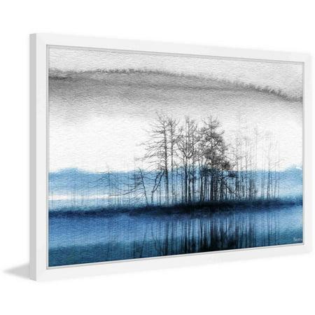 "Parvez Taj ""Tree Isle Reflects"" Framed Painting Print"