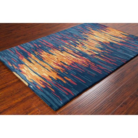chandra rugs stella hand woven wool blue orange area rug. Black Bedroom Furniture Sets. Home Design Ideas