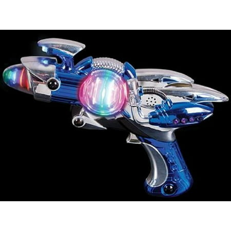 Toy Gun – Blue Light-Up Noise Blaster 11 ½ Inches Long With Cool And Fun Super Spinning Space Style – For Novelty And Gag Toys, Party Favor, Party Bag Stuffer, Party Giveaway, Gift Ideas- By Kidsco - Ideas Decoracion Halloween