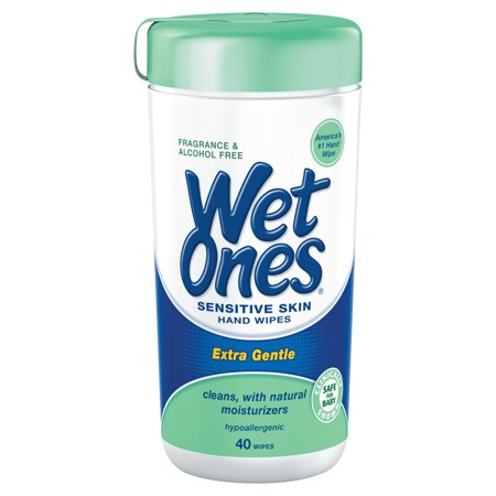 Wet Ones Sensitive Skin Hand Wipes Canister, Fragrance Free, 40 Ct