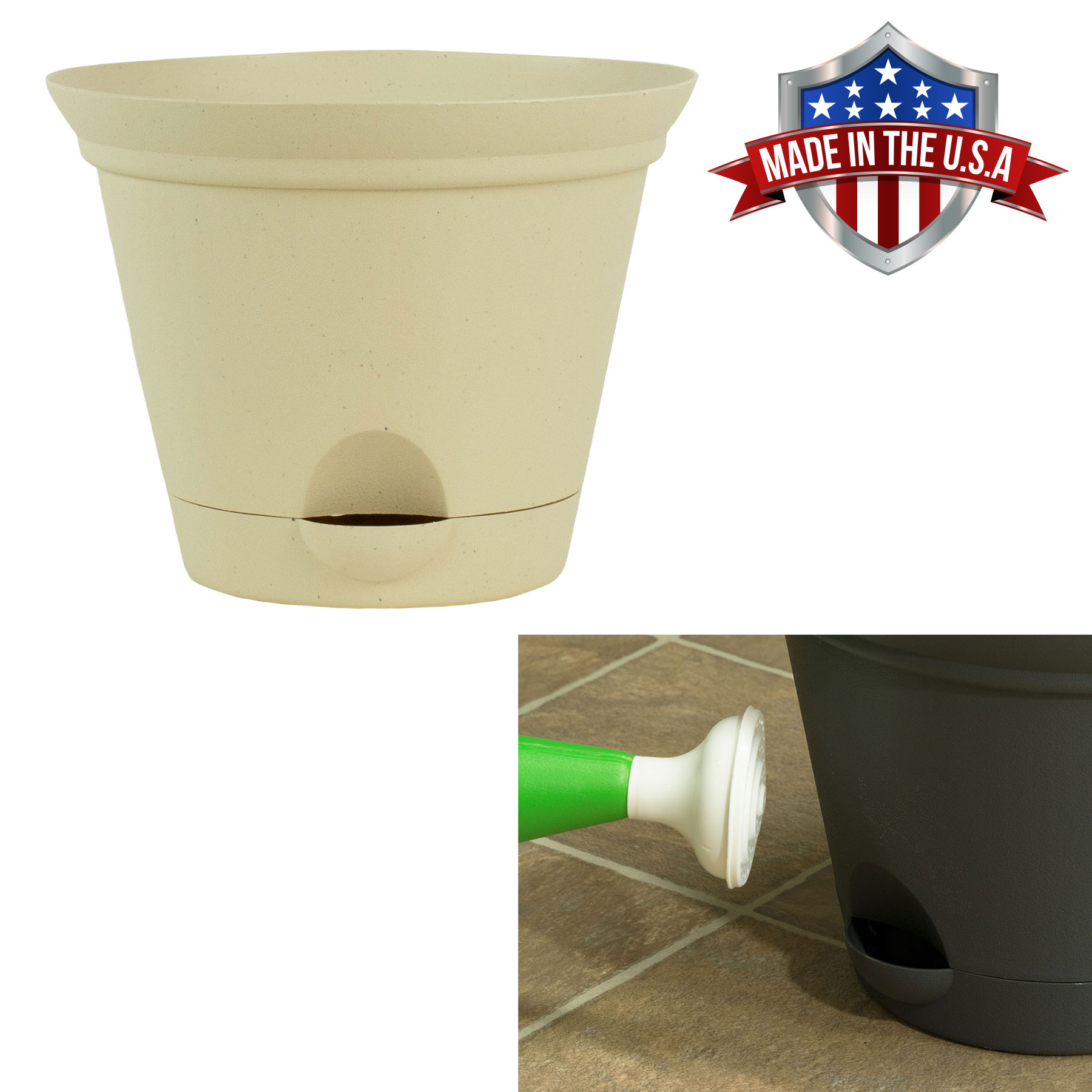 11.5 Inch Latte Quartz Plastic Self Watering Flare Flower Pot or Garden Planter