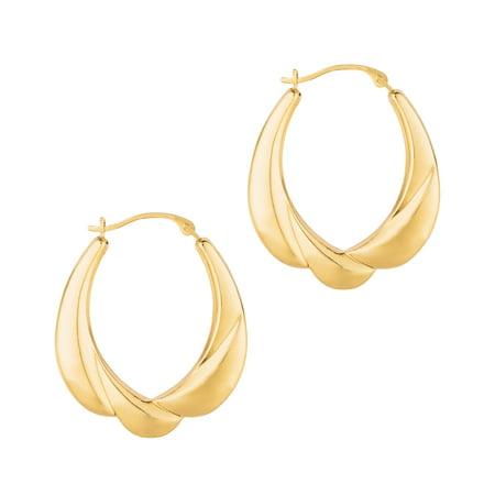14k Yellow Gold 25mm X 30mm Oval Hoop Earrings 14k Gold 30mm Hoop Earrings