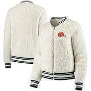 Cleveland Browns New Era Women's Athletic Sherpa Full-Zip Jacket - Cream