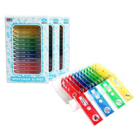 12Pcs Microscope Specimen Slides Educational Toys for Children (Microscope For Kids)